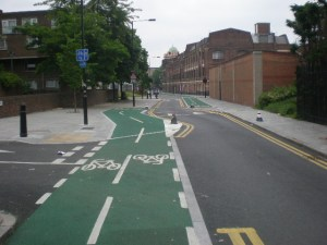 Cycle lane on Cable St in Tower Hamlets